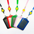 New Bank Credit Card Holders PU Neck Strap Card Bus ID Holders Identity Badge with Smile Face Retractable Reel Lanyard wholesale