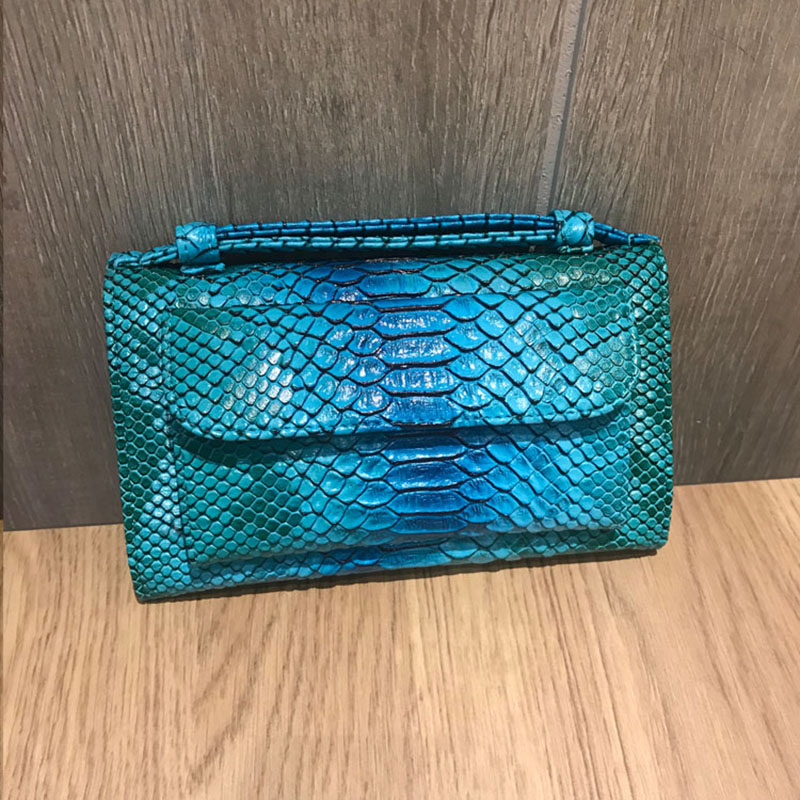 Blue Snake Pattern Clutch Bag Women Chain Purse Multifuction Wallet Women Snake Fashion Phone Bag Wallet with Handle