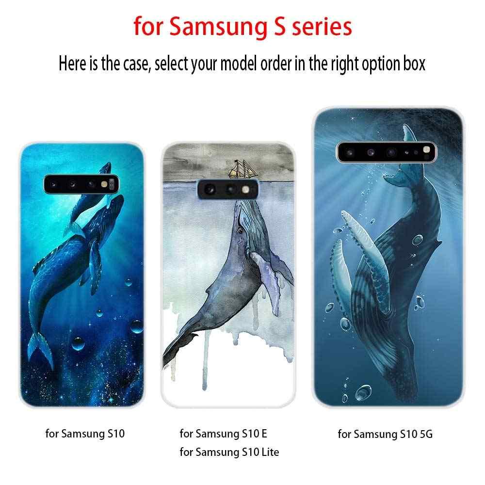 Màu Nước Cá Voi Ốp Lưng Ốp Bao Da Điện Thoại S11 S9 S8 S7 S6 Ốp Lưng Trên Cho Samsung S10 Plus S8 S9 Plus s7 S6Edge Note 10 8 9 Ốp Lưng