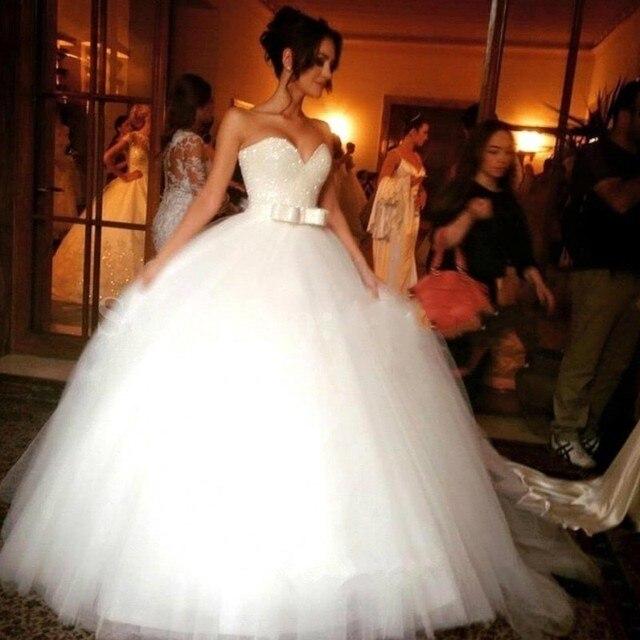 Vestido de Bola Brillantes Cristales de boda 2016 vestido de Novia de Tul Blanco vestido nupcial de robe de mariage Vestido de noiva casamento