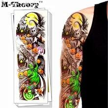 M-theory Long Sleeve Temporary Tattoos Body Arts Makeup Halloween Flash Tatoos Stickers 48x17cm Bikini Swimsuit Makeup Tools