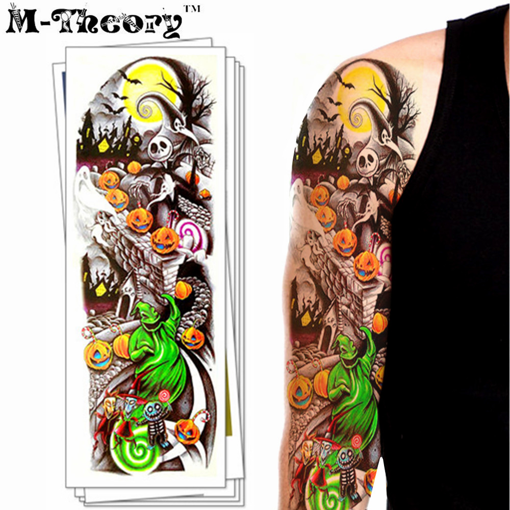 m theory long sleeve temporary tattoos body arts makeup halloween flash tatoos stickers 4817cm bikini swimsuit makeup tools - Halloween Swimsuit