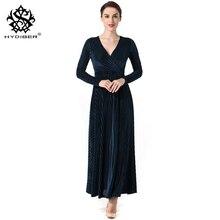 2018 New Spring Dress Women Elegant Pleuche Dress Ladies Sexy V Neck long Sleeve Velour Swing Dress