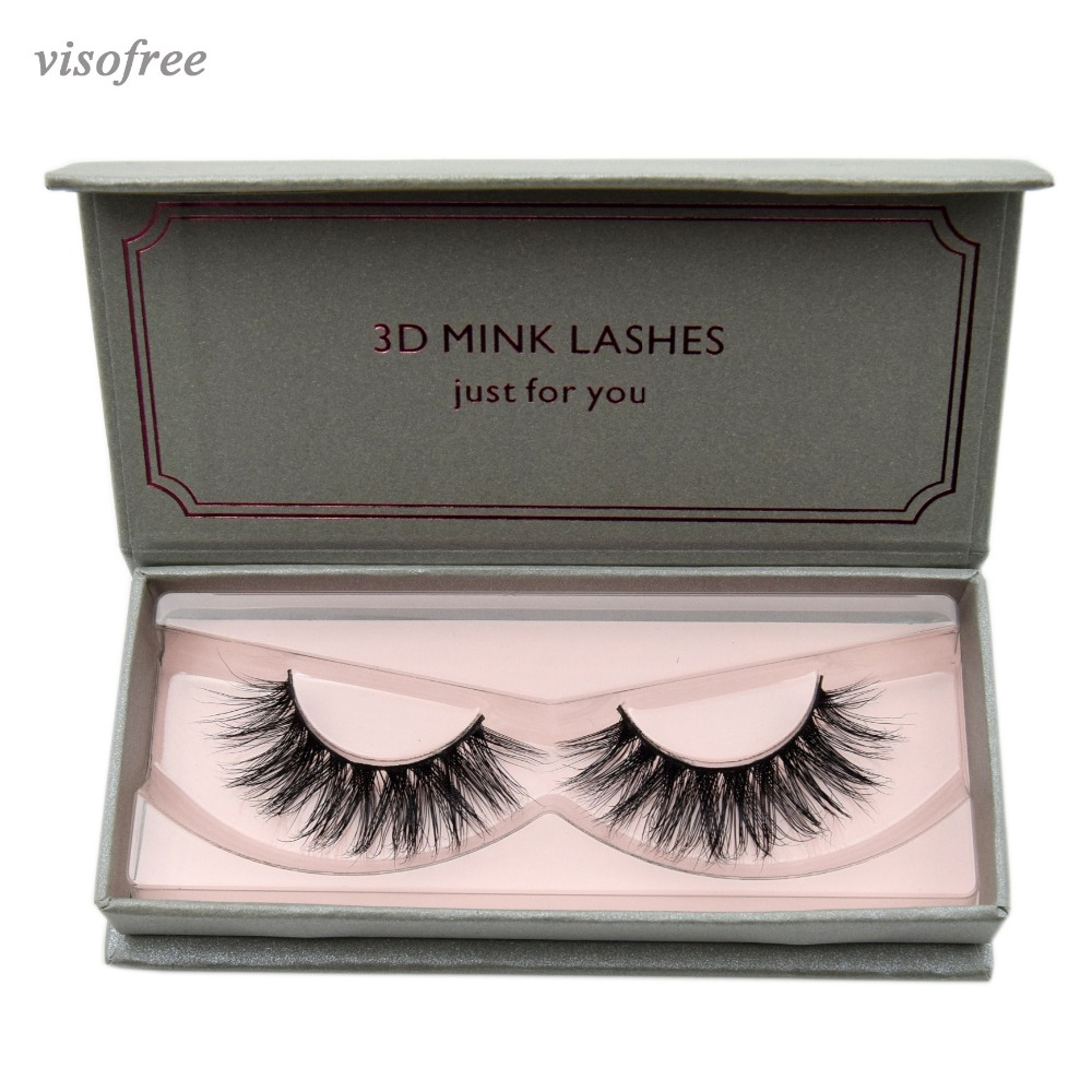 Visofree Natural Long Mink Eyelashes 1 Pair 3D False Eyelashes Full Volume Mink Lashes Lightweight Soft Lashes Eyelash Extension