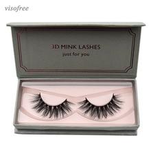 ff0f5501bfd Visofree Natural Long Mink Eyelashes 1 pair 3D False Eyelashes Full Volume  Mink Lashes Lightweight Soft