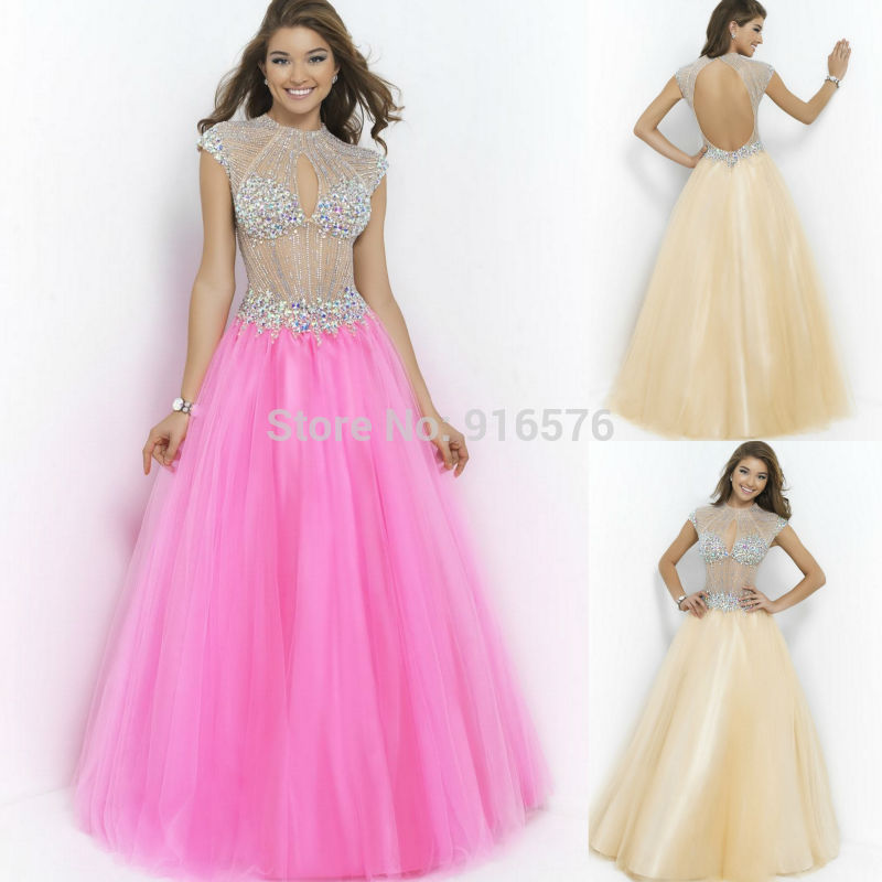 Long Dresses For Wedding Candy Pink Tulle Dress With Crystals ...
