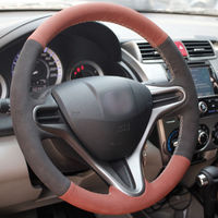 leather hand Top Leather Steering Wheel Hand-stitch on Wrap Cover For Honda Fit 2009-2013 City (2)