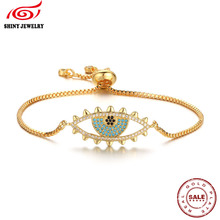 COUPLE Gold Silver Tone CZ Micro Pave Link Chain Bracelets Bangles On Hand Blue Eyes Charm