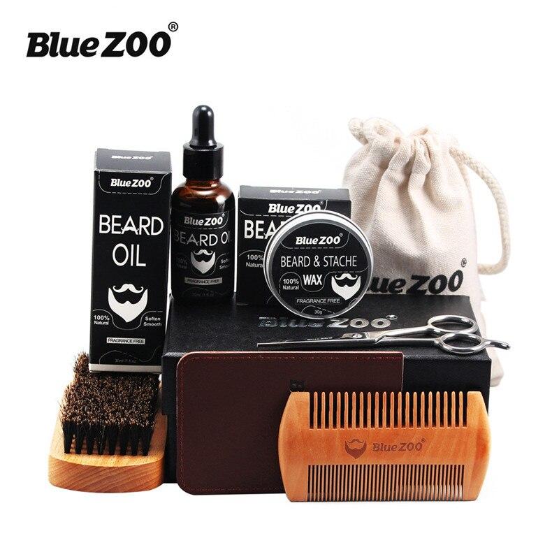 Blau Zoo Männer Bart Pflege Set Bart Wachs Bart öl Pinsel Kamm Schere Brieftasche Styling Gestaltung Feuchtigkeitsspendende Bart Kit 7 Stücke