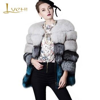 LVCHI SAGA Style Winter Thick Real Fox Coat 2019 Silver Fox Hair Blue Fox Hair Double-Faced Fur Coats Warm Fashion Women Fox Fur фото