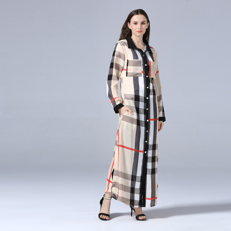 Plaid Cardigan Islamic Clothing Long Dress Muslim Dress Arab Women Fashion Robe Dress Abaya Ethnic Muslim Women Kaftan Dress (1)