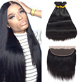 7A Straight Brazillian Virgin Hair With Closure 3/4 Bundles Weave Human Hair With Closure Ms Lula With 1PCS Closure And Bundles