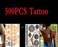 500 шт. Высокое качество золото синий Временные татуировки Средства ухода за кожей Книги по искусству металлик серебристый металлик татуиро