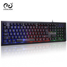 ChonChow Game Keyboard with Rainbow Backlit Keycaps Simple 104 keys Waterproof Keyboard for Computer Work Fashion Design