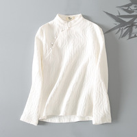 Women Spring Cotton Linen Elegant Chinese Style White Red Black Blouse Vintage Stand Collar Buttons Female