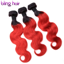 Bling Hair Brazilian Body Wave 1B-Red Ombre Hair Weave Non-Remy Human Hair 3 Bundles Great Value For Salon Hair Extensions
