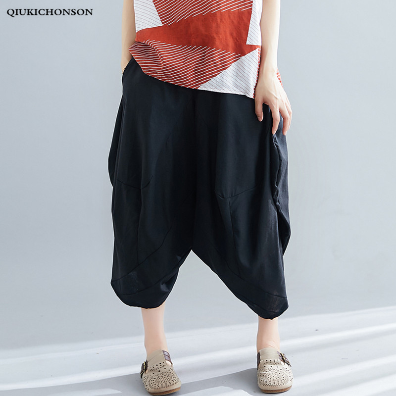 Ethnic Literary Vintage Casual Loose Pants Women Plus Size Capris Elastic Waist Harem Pants Ladies Trousers Summer Baggy Pants