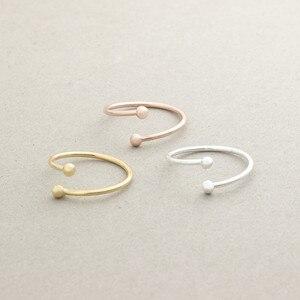 Różowe złoto wypełnione Mini podwójna kula otwarte pierścienie dla kobiet mężczyzn biżuteria minimalistyczny kolor srebrny okrągły obrączka miedzi Bague Femme