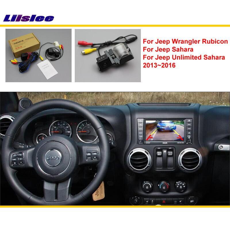 imágenes para Para Jeep Wrangler Rubico/Sahara/Ilimitado 2013 ~ 2016 Coches de visión Trasera de Aparcamiento Cámara de Marcha Atrás/RCA y Pantalla Original Compatible