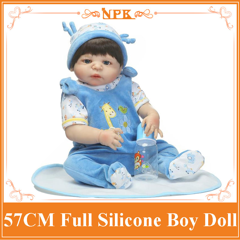 Black Hair Handsome 57cm About 22inch Whole Silicone Reborn Baby Doll Christmas Gift For Children As Enducational Reborn Dolls super cute plush toy dog doll as a christmas gift for children s home decoration 20