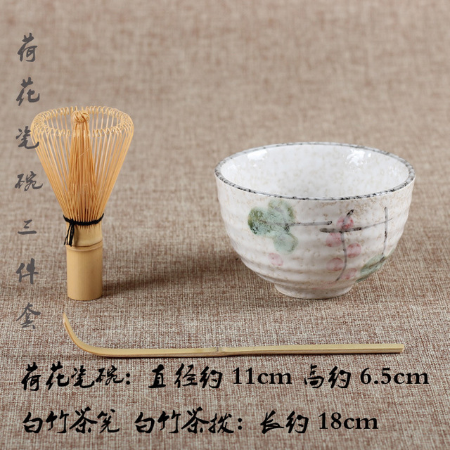 Wipe tea tools with spoon ceramic bowl brush bamboo brush tea set Japanese Matcha Bowl Whisk & Scoop Green Tea Accessories