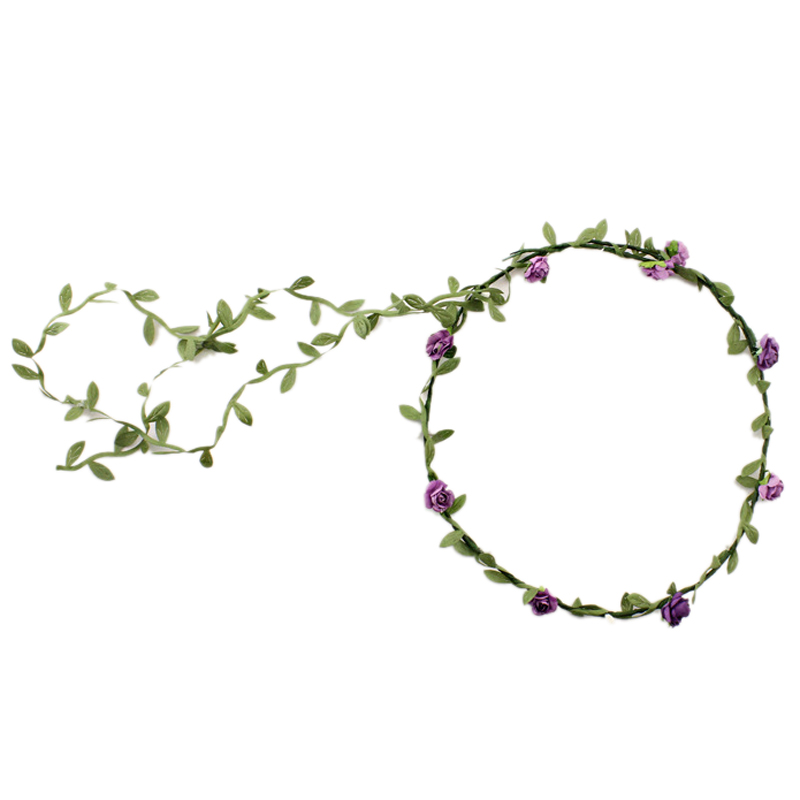 2017 NEW Lady Boho Floral Flower Festival Wedding Garland Forehead Hair Head Band purple