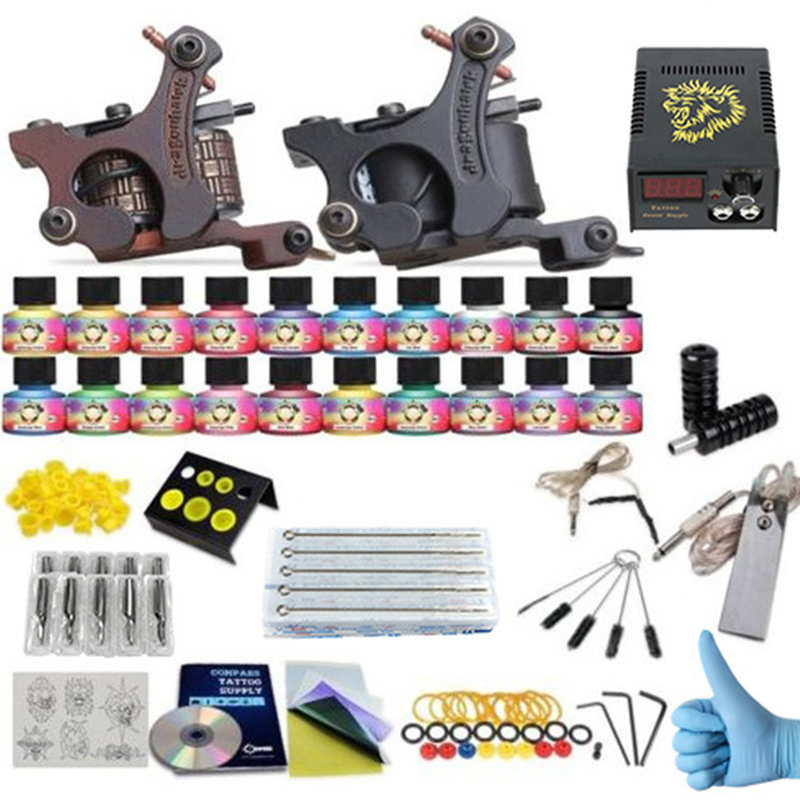 new Complete profession Tattoo kits 10 wrap coils 2 guns machine 20 tattoo ink set power supply disposable needle clip cord disposable tattoo tube with needle combo mixed 40 piece