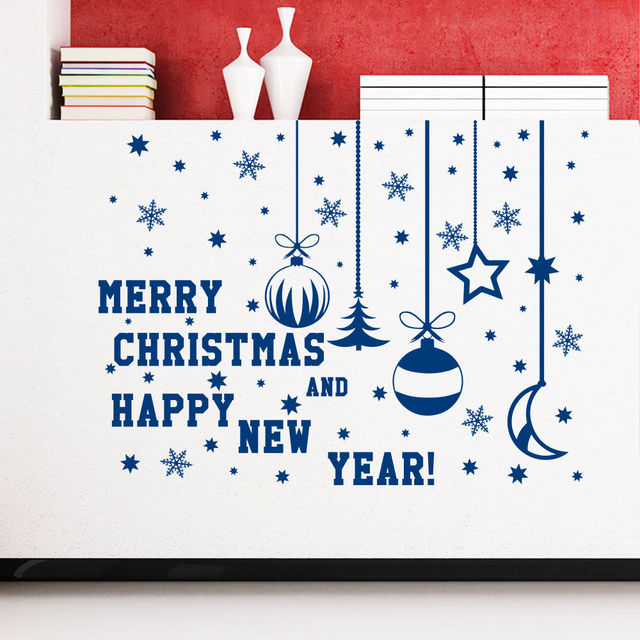 merry christmas happy new year quotes christmas decoration with snowflakes wall sticker vinyl wall mural for