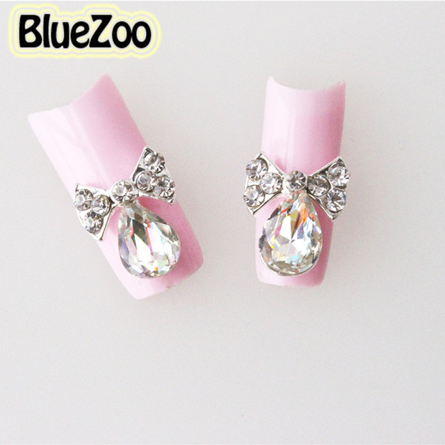 Bluezoo newest 10pcspack 3d nail art rhinestone bow tie previous next prinsesfo Image collections