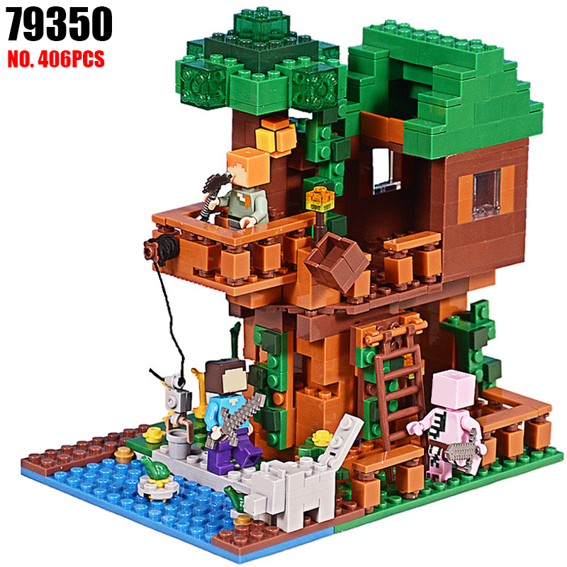 AIBOULLY 79350 406pcs My World Jungle Tree House Scene Building Block Compatible 21125 Kids DIY Bricks Toys for children lepin 18003 my world series the jungle tree house model building blocks set compatible original 21125 mini toys for children