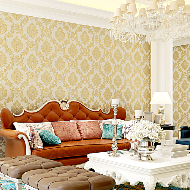 Self adhesive Wallpaper  3D Embossed Background Damask Wallpaper For Living Room Wallpaper Roll Desktop paper with glue 5 colors