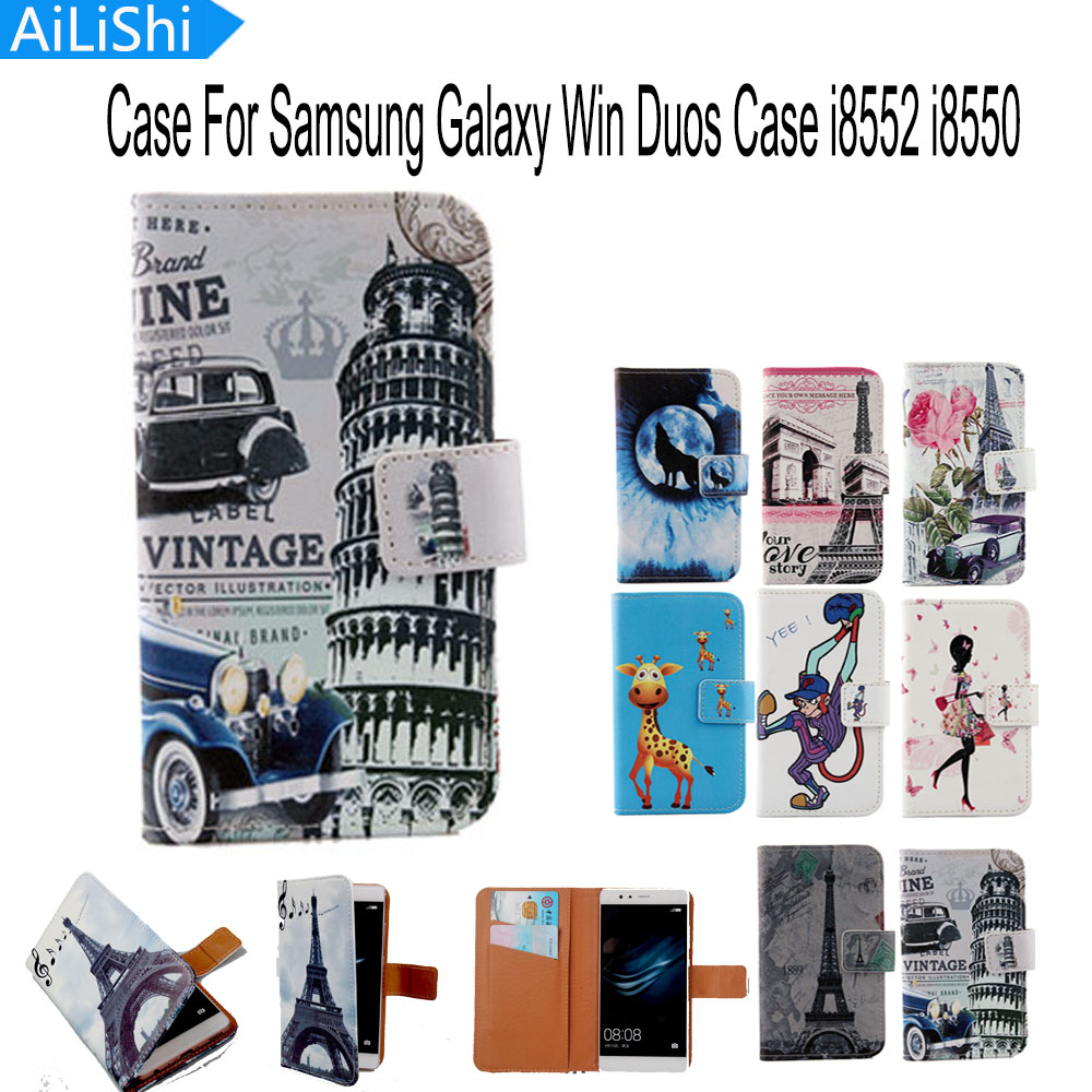 AiLiShi Flip Cover Skin Pouch With Card Slot Hot PU Leather Case Phone Case For Samsung Galaxy Win Duos Case i8552 case i8550