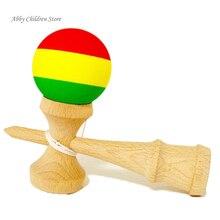 Gestreiften Gummi Kendama Elastische Matt Kendama Schwert Ball Professionelle Holz Spielzeug Geschickte Jonglierball Spiel Spielzeug Für Kinder