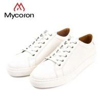 MYCORON/Новая брендовая дизайнерская спортивная обувь в Корейском стиле, кожаная женская обувь белого цвета, повседневная женская обувь из вол