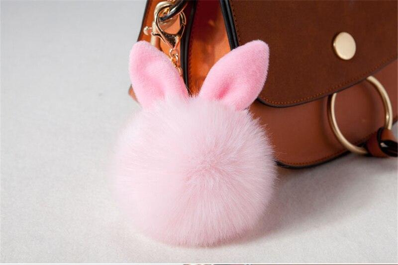2017 Fur Pom Pom Keychain Fake Rabbit fur ball key chain porte clef pompom de fourrure pompon Bag Charms bunny keychain Keyring 31