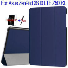 Последним стенд флип смарт пу кожаный чехол для asus zenpad 3 s 10 lte z500kl 9.7 «таблетки funda case + free screen protector + pen