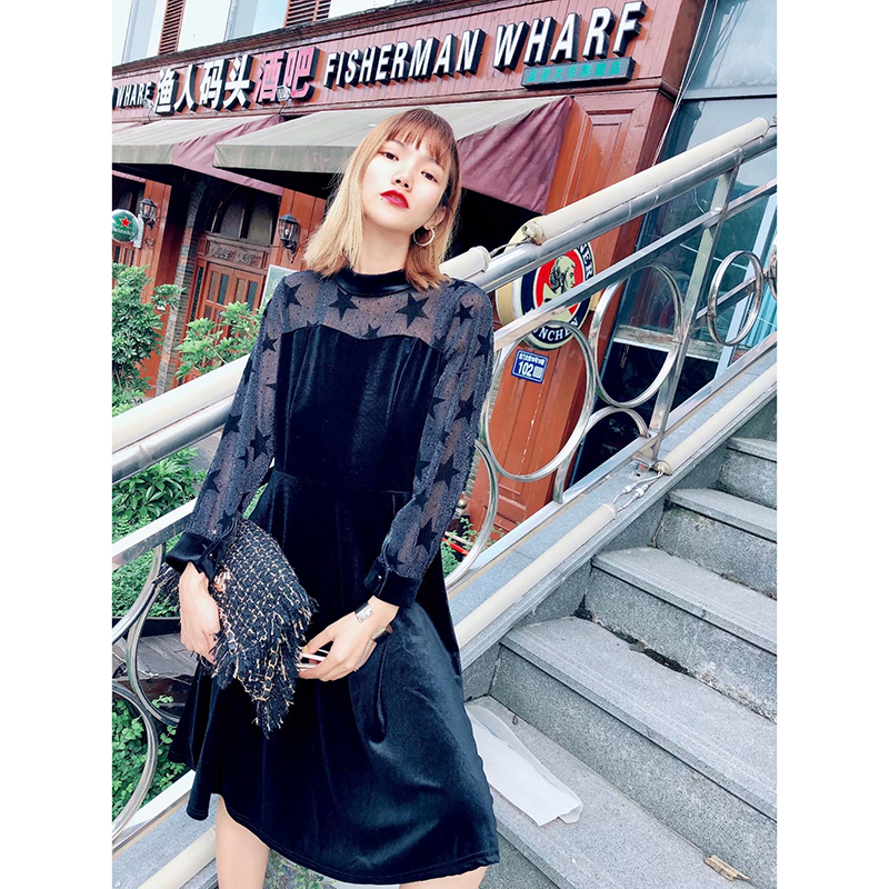Women Autumn Spring Black Mesh Dress <font><b>2018</b></font> <font><b>Sexy</b></font> Party Lace Dresses <font><b>Ladies</b></font> Sweet <font><b>Star</b></font> Print High Waist Perspective vestidos mujer image