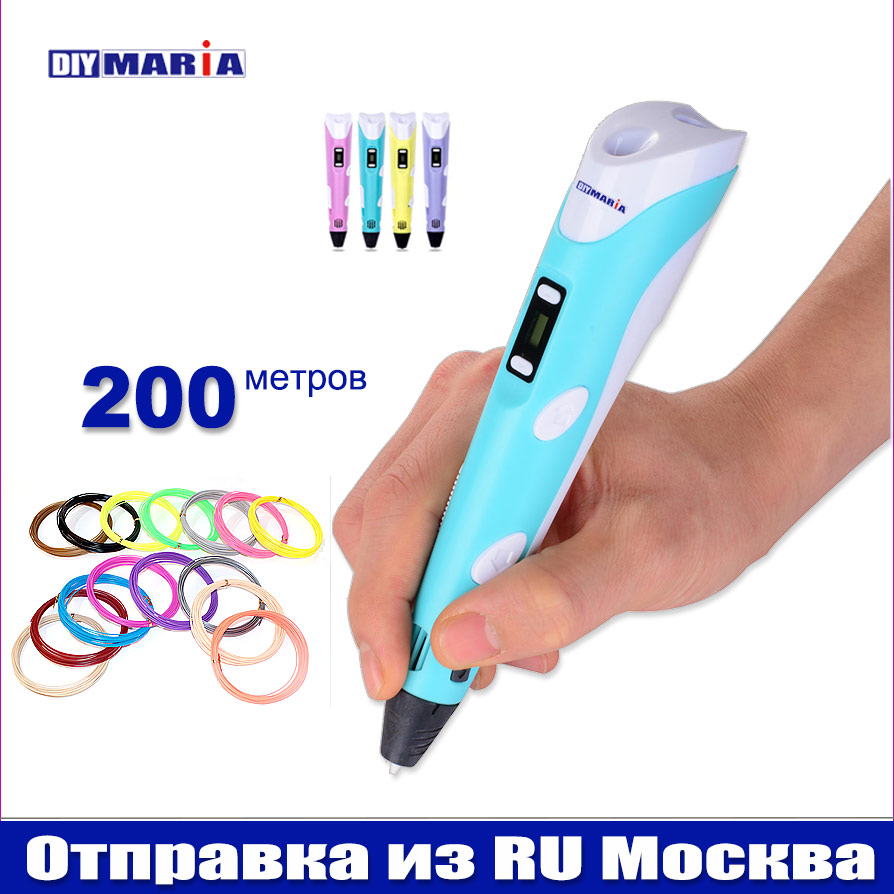3D PLA Pen NEW 2018 LCD Display 3D Drawing Pens SHIP FROM RU Moscow With 1.75mm Birthday Toy Gift For Kids Present 3 D Pen
