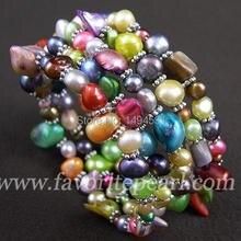 Pulsera de perlas – cuatro fila 3 – 8 mm Color del arco iris perla pulsera de perla Natural – hechos a mano de la joyería el envío gratuito