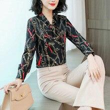 New Style Fashion Women Slim Printed Chain Sweet Bow Neck Chiffon Shirts Blouses