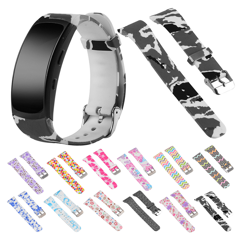 Essidi Kids Women Printed Rubber Watch Band Strap For Samsung Gear Fit 2 Pro R360 Quick Release Wristband Loop For Fit 2 Pro