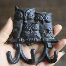 Heavy Cast Iron -Family Owl Wall Hook