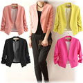 2016 Fashion Casual Thin Jackets Woman Coat Pink Yellow Black Jacket Candy Pleated Fold Sleeve Suit Short Feminino Womens Jacket