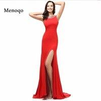 Cuadro verdadero Rojo Vestidos de Noche 2017 Side Dividir Vestidos de Noche Elegantes Vestidos Formales Con Cuentas Por Encargo robe de soirée DB24302