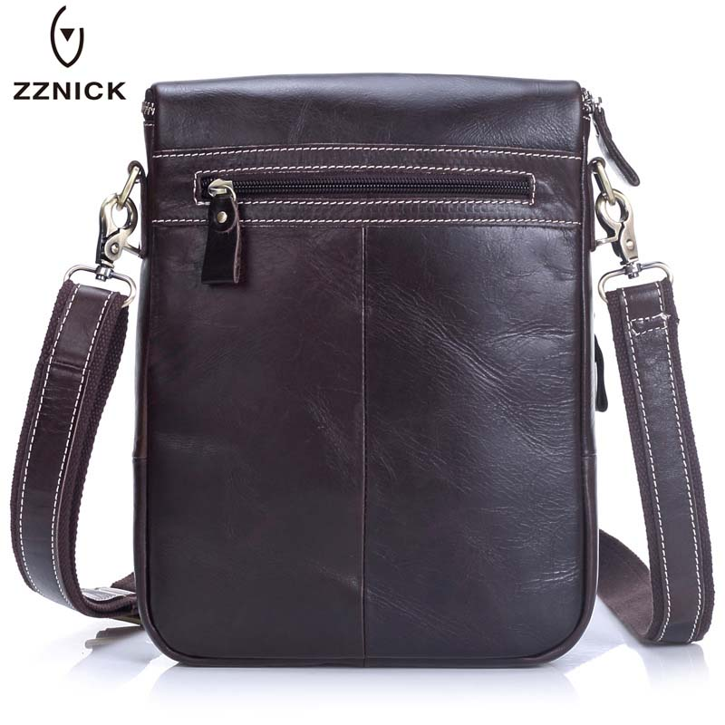 2018 ZZNICK Luxury Brand Bags Leather Men's Single Shoulder Bag Double Pocket Men Bags Men Casual Crossbody Bag Handbag For Male zznick 2017 new men s business bag brand genuine leather male fashion shoulder bags luxury cow leather handbag men crossbody bag