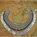 Estilo bohemio flecos cadena de la cintura de la moneda de plata de la aleación tallada de las mujeres accesorios de moda cinturón de FP