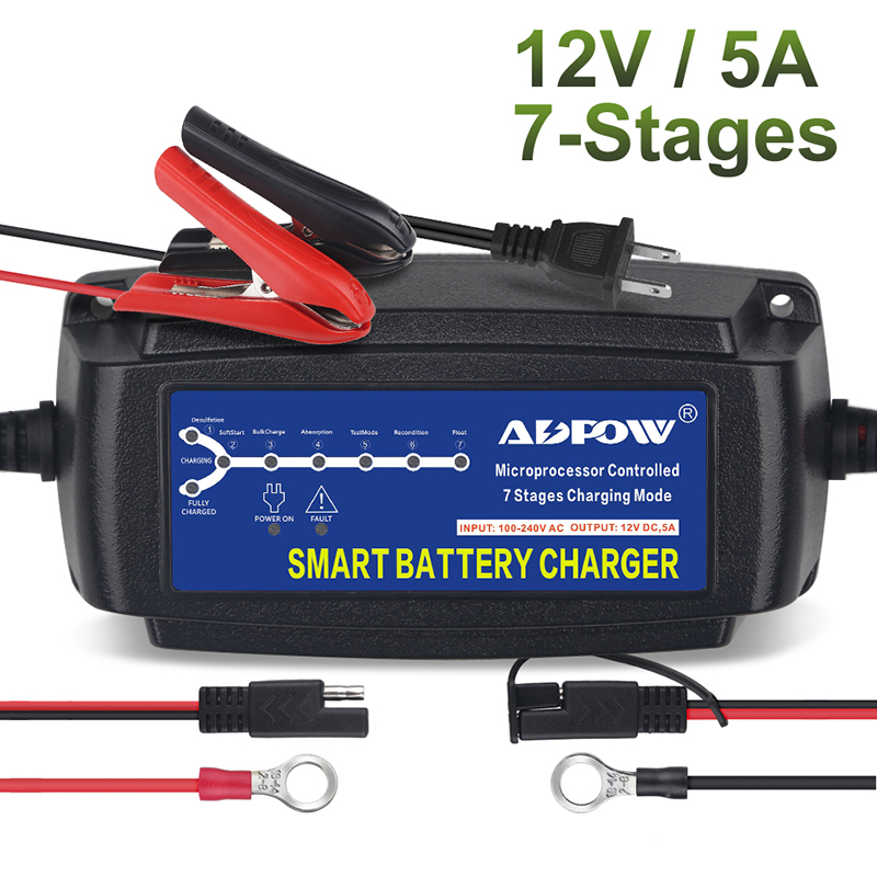 7 Stages 12v 5A Automatic Car Battery Charger Maintainer Desulfator For Lead Acid AGM Gel Charging Vehicle 100-240V