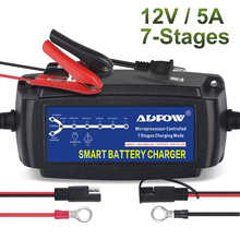 7 Stages 12v 5A Automatic Car Battery Charger Maintainer Desulfator For Lead Acid AGM Gel For Battery Charging Vehicle 100-240V autool bt 460 battery tester lead acid agm gel battery cell analyzer for 12v vehicle 24v heavy duty 4 tft colorful display