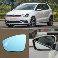 smRKE For VW Volkswagen Polo Car Rearview Mirror Wide Angle Hyperbola Blue Mirror Arrow LED Turning Signal Lights