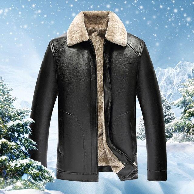 616fab35e2de4 Zima męskie skórzane kurtki stanąć kołnierz długie płaszcze wiatrówka  mężczyzn polar PU skóra mężczyzna kurtka